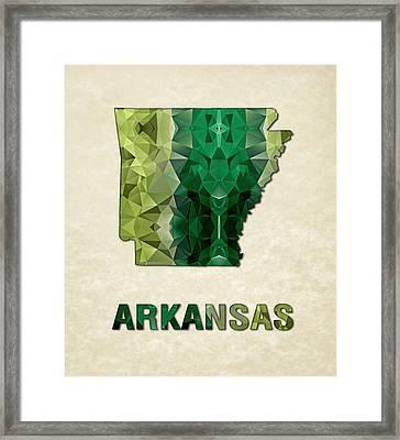 Polygon Mosaic Parchment Map Arkansas Framed Print by Elaine Plesser