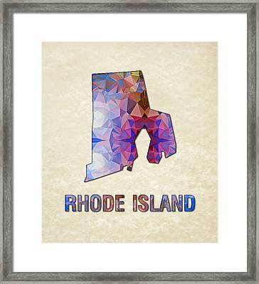 Polygon Mosaic Parchment Map Rhode Island Framed Print by Elaine Plesser