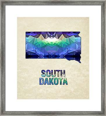 Polygon Mosaic Parchment Map South Dakota Framed Print by Elaine Plesser