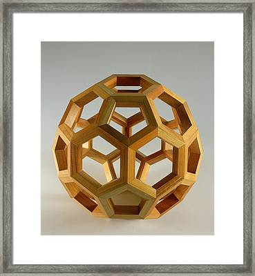 Polyhedron Wood Framed Print by Italian School