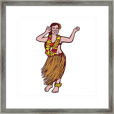 Polynesian Dancer Grass Skirt Linocut Framed Print