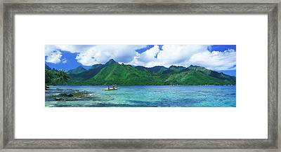 Polynesian People Rowing A Yellow Framed Print by Panoramic Images