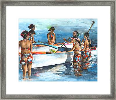 Polynesian Vahines Around Canoe Framed Print