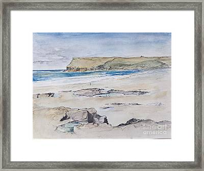 Polzeath And Pentire Head Framed Print