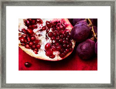Pomegranate And Red Grapes Framed Print