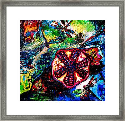 Pomegranate And Six Dragonflies Framed Print by Genevieve Esson