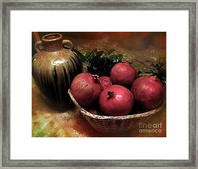 Pomegranate Basket And Clay Jar Framed Print by Bedros Awak