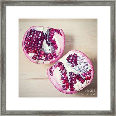 Pomegranate Halves Framed Print by Ivy Ho
