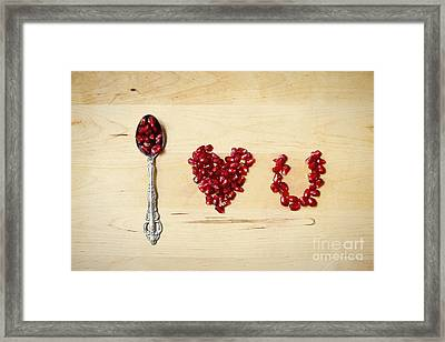 Pomegranate Typography I Love U Framed Print by Ivy Ho