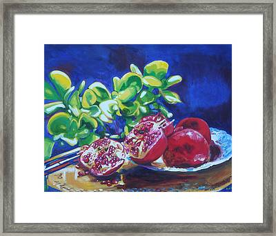 Pomegranates And Jade Framed Print by Susan Duda
