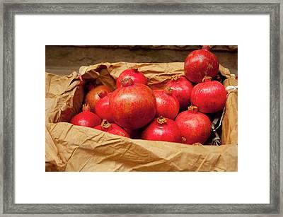 Pomegranates For Sale, Old Delhi Framed Print by Inger Hogstrom
