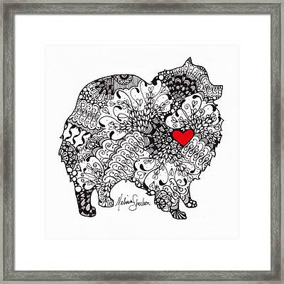 Framed Print featuring the drawing Pomeranian by Melissa Sherbon