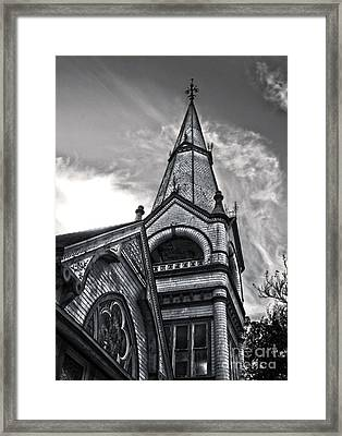 Pomona Seventh Day Adventist Church In Black And White Framed Print