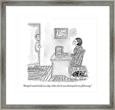 Pompeii Wasn't Built In A Day Framed Print by Victoria Roberts