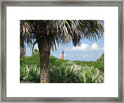 Framed Print featuring the digital art Ponce Inlet Lighthouse Florida 2 by Brian Johnson