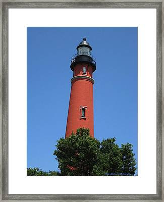 Framed Print featuring the digital art Ponce Inlet Lighthouse Florida by Brian Johnson