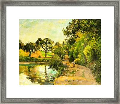 Pond At Montfoucault Framed Print by Camille Pissarro