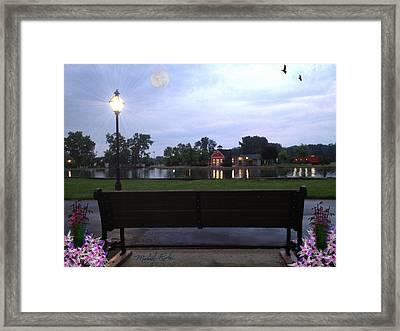 Pond Bench Framed Print by Michael Rucker