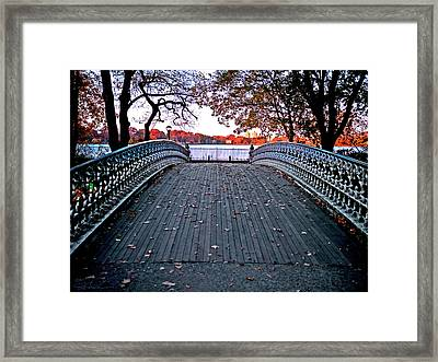Pond Footbridge Framed Print