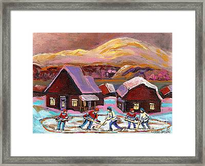 Pond Hockey Cozy Winter Scene Framed Print by Carole Spandau