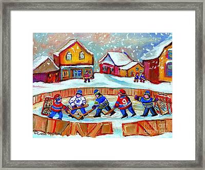 Pond Hockey Game Framed Print by Carole Spandau