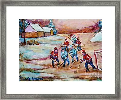 Pond Hockey In The Country On Frozen Pond Canadain Winter Landscapes Carole Spandau Framed Print by Carole Spandau