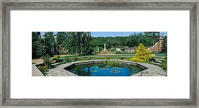 Pond In A Botanical Garden, English Framed Print