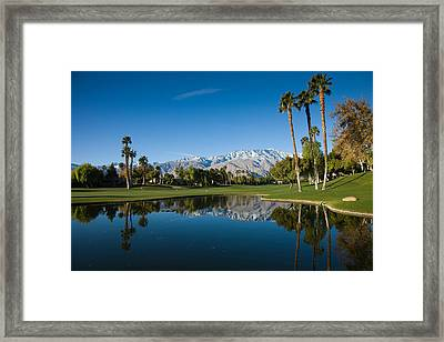 Pond In A Golf Course, Desert Princess Framed Print