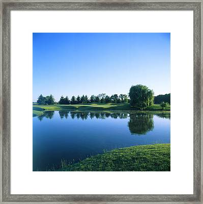 Pond In A Golf Course, Rich Harvest Framed Print
