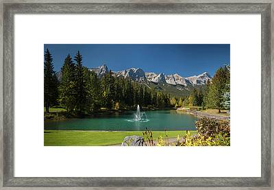 Pond In Canmore Golf Course, Mount Framed Print