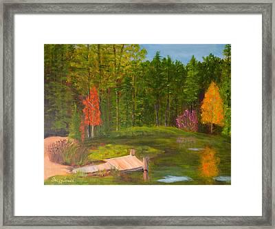 Pond In The Blue Ridge Framed Print by Sally Jones