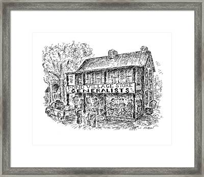 Pond Village Store Generalists Framed Print by Edward Koren