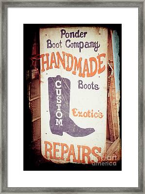 Ponder Handmade Boots Framed Print by Sonja Quintero