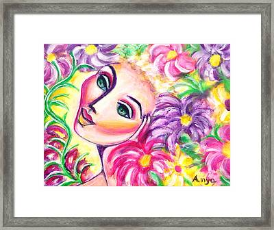 Framed Print featuring the painting Pondering In A Garden by Anya Heller