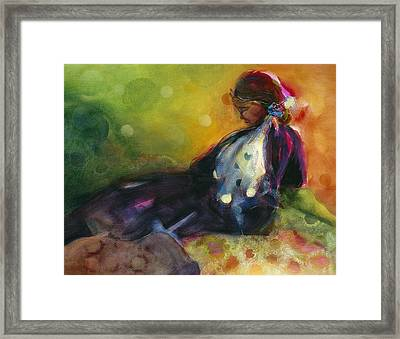 Pondering The Cosmos Framed Print by Jen Norton