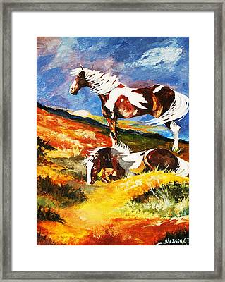 Framed Print featuring the painting Ponies At Sunset by Al Brown