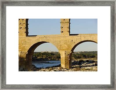 Pont Du Gard Arcade Framed Print by Sami Sarkis