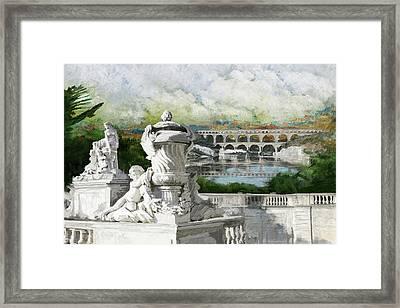 Pont Du Gard Roman Aqueduct Framed Print