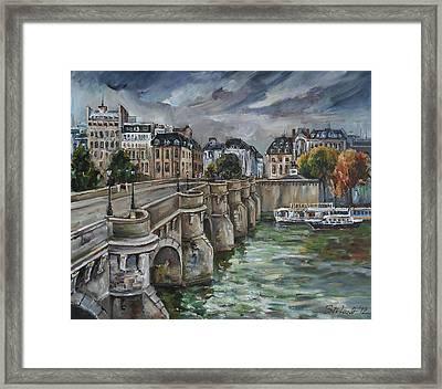 Pont Neuf At Dusk Framed Print
