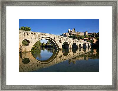 Pont Vieux Bridge Over River Orb And St Framed Print by George Munday