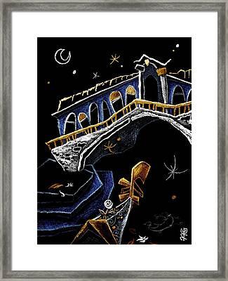 Ponte Di Rialto - Grand Canal Venise Gondola Illustration Framed Print by Arte Venezia