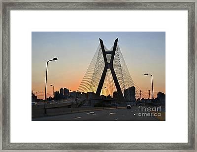 Ponte Octavio Frias De Oliveira Ao Cair Da Tarde Framed Print by Carlos Alkmin