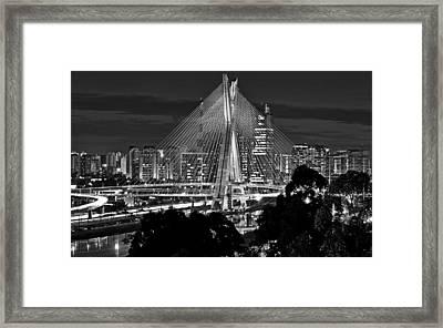 Sao Paulo - Ponte Octavio Frias De Oliveira By Night In Black And White Framed Print
