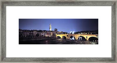 Ponte Pietra And Adige River, Verona Framed Print by Panoramic Images
