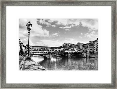 Ponte Vecchio At Florence Italy Bw Framed Print