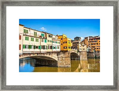 Ponte Vecchio At Sunset Framed Print by JR Photography
