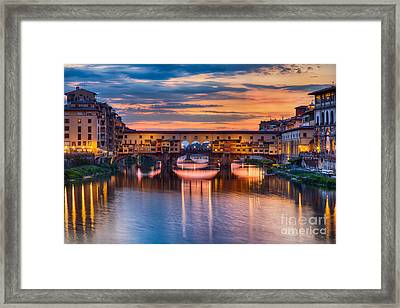 Ponte Vecchio At Sunset Framed Print by Michele Steffey