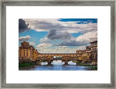 Ponte Vecchio Clouds Framed Print by Inge Johnsson