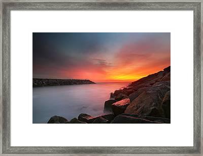 Ponto Jetty Sunset 5 Framed Print by Larry Marshall