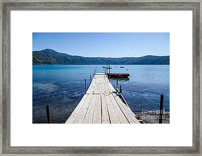 Pontoon With Rowing Boat On Lake Albano Lazio Italy Framed Print